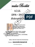 ICSE Mathematics Formulae Booklet 2016-2017