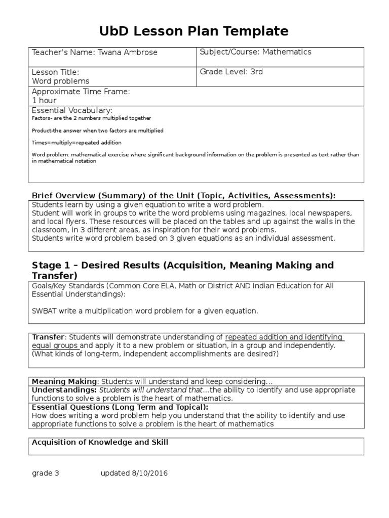 updated ubd lesson plan twana ambrose educational assessment