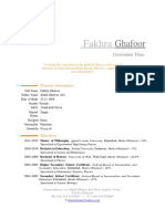 CV of fakhra gohar
