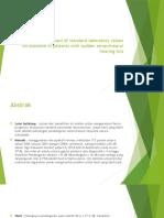 Prognostic Impact of Standard Laboratory Values on Outcome