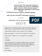 United States v. John Lincoln Coleman, 32 F.3d 563, 4th Cir. (1994)