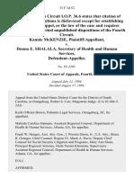 Kannie McKenzie v. Donna E. Shalala, Secretary of Health and Human Services, 33 F.3d 52, 4th Cir. (1994)