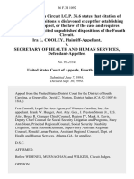 Ira L. Cooley v. Secretary of Health and Human Services, 36 F.3d 1092, 4th Cir. (1994)