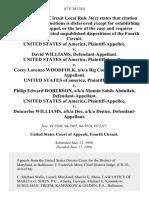 United States v. David Williams, United States of America v. Corey Lorenzo Woodfolk, A/K/A Big Corey, United States of America v. Philip Edward Roberson, A/K/A Mumin Sahib Abdullah, United States of America v. Doncarlos Williams, A/K/A Dee, A/K/A Denice, 87 F.3d 1310, 4th Cir. (1996)