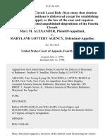Mary M. Alexander v. Maryland Lottery Agency, 91 F.3d 128, 4th Cir. (1996)