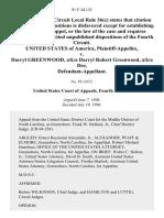 United States v. Darryl Greenwood, A/K/A Darryl Robert Greenwood, A/K/A Dee, 91 F.3d 135, 4th Cir. (1996)
