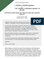 Rafael Medina v. United States of America, No. 00-2156, 259 F.3d 220, 4th Cir. (2001)