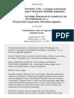 Joseph P. Bornstein, Ltd., a Virginia Professional Corporation Joseph P. Bornstein v. National Union Fire Insurance Company of Pittsburgh, Pa, a Pennsylvania Corporation, 828 F.2d 242, 4th Cir. (1987)