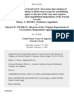 Sidney A. Henry v. Edeard W. Murray, Director of the Virginia Department of Corrections, 985 F.2d 553, 4th Cir. (1993)