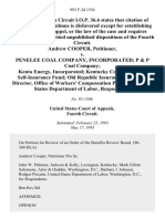 Andrew Cooper v. Penelee Coal Company, Incorporated P & P Coal Company Kenta Energy, Incorporated Kentucky Coal Producers' Self-Insurance Fund Old Republic Insurance Company Director, Office of Workers' Compensation Programs, United States Department of Labor, 993 F.2d 1536, 4th Cir. (1993)