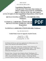 Hi-Way Paving Company, Incorporated v. National Labor Relations Board, Hi-Way Paving Company, Incorporated v. National Labor Relations Board, 940 F.2d 652, 4th Cir. (1991)
