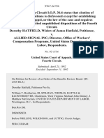 Dorothy Hatfield, Widow of James Hatfield v. Allied-Signal Inc Director, Office of Workers' Compensation Programs, United States Department of Labor, 976 F.2d 726, 4th Cir. (1992)