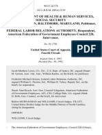 U.S. Department of Health & Human Services, Social Security Administration, Baltimore, Maryland v. Federal Labor Relations Authority, American Federation of Government Employees Council 220, Intervenor, 983 F.2d 578, 4th Cir. (1992)