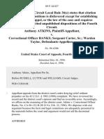 Anthony Atkins v. Correctional Officer Banks Sergeant Carter, Sr. Warden Taylor, 89 F.3d 827, 4th Cir. (1996)