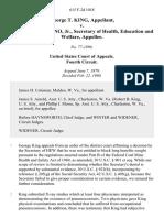 George T. King v. Joseph A. Califano, Jr., Secretary of Health, Education and Welfare, 615 F.2d 1018, 4th Cir. (1980)