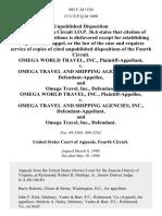 Omega World Travel, Inc. v. Omega Travel and Shipping Agencies, Inc., and Omega Travel, Inc., Omega World Travel, Inc. v. Omega Travel and Shipping Agencies, Inc., and Omega Travel, Inc., 905 F.2d 1530, 4th Cir. (1990)