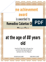 Olivares Grand Reunion Certificate With Picture