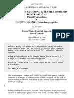 Amalgamated Clothing & Textile Workers Union, Afl-Cio v. Facetglas, Inc., 845 F.2d 1250, 4th Cir. (1988)