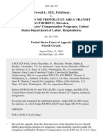 Elwood L. See v. Washington Metropolitan Area Transit Authority Director, Office of Workers' Compensation Programs, United States Department of Labor, 36 F.3d 375, 4th Cir. (1994)