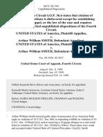 United States v. Arthur William Smith, United States of America v. Arthur William Smith, 865 F.2d 1261, 4th Cir. (1989)