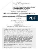 Ted J. Smith, III Guy J. Degenaro Frank Belloni George W. Rimler Allan Rosenbaum, on Behalf of Themselves and All Others Similarly Situated v. Virginia Commonwealth University, American Association of University Professors, Amicus Curiae, 62 F.3d 659, 4th Cir. (1995)