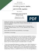 United States v. Arnold Naylor, 705 F.2d 110, 4th Cir. (1983)