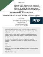 Ollye Reynolds v. Fairfax County School Board, 985 F.2d 553, 4th Cir. (1993)