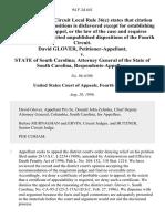 David Glover v. State of South Carolina Attorney General of the State of South Carolina, 94 F.3d 641, 4th Cir. (1996)
