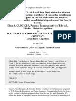Elma A. Glocker, Personal Representative of Edwin L. Glocker v. W.R. Grace & Company Aetna Life Insurance Company, 68 F.3d 460, 4th Cir. (1995)