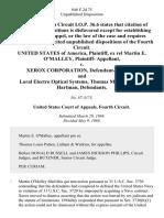 United States of America, Ex Rel Martin E. O'malley, Plaintiff v. Xerox Corporation, and Loral Electro Optical Systems, Thomas Mason, Stanley Hartman, 846 F.2d 75, 4th Cir. (1988)