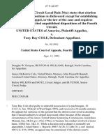 United States v. Tony Ray Cole, 67 F.3d 297, 4th Cir. (1995)