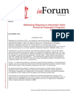 Addressing Response to Intervention within Personnel Preparation Programs