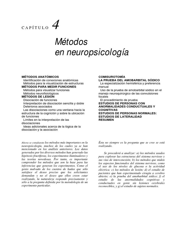 Capitulo.4. Metodos en Neuropsicologia
