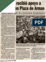 Satélite 04-10-08 Acuña recibió apoyo a gestión en Plaza de Armas