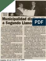 Satélite 06-10-08 Municipalidad distinguió a Segundo Llanos Horna