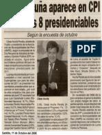 Satélite 11-10-08 César Acuña aparece en CPI entre los 8 presidenciables