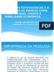 As Placas Fotovoltaicas e a Produção de Energia