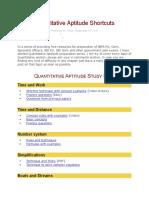Quantitative Aptitude Shortcuts