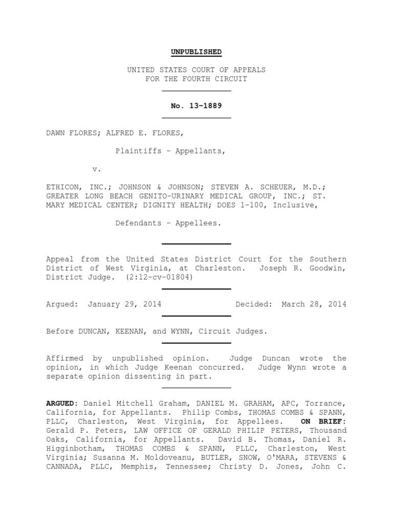Dawn Flores v  Ethicon, Incorporated, 4th Cir  (2014) | Prejudice
