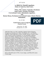 Robert Lee Brock, United States of America, Intervenor v. Lieutenant Carroll Mrs. Clark, Counselor, Powhatan Correctional Center Warden, Powhatan Correctional Center, and Doctor Dixon, Powhatan Correctional Center Doctor Barnes, 107 F.3d 241, 4th Cir. (1997)