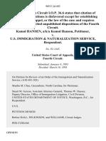 Kamol Hansen, A/K/A Komol Hanson v. U.S. Immigration & Naturalization Service, 989 F.2d 492, 4th Cir. (1993)