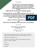 Broadcast Music, Inc., and Conrad Music Pronto Music Dleif Music, Incorporated Lena Music, Incorporated Abkco Music, Incorporated Irving Music, Incorporated Klondike Enterprises, Limited Regent Music Corporation v. John Galloway, and Opticom, Incorporated, D/B/A Want Am, 993 F.2d 1535, 4th Cir. (1993)