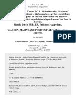 Gerald Davis Fuller v. Warden, Maryland Penitentiary, 914 F.2d 1491, 4th Cir. (1990)