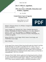 Walter F. Mills v. F. David Mathews, Secretary of Health, Education and Welfare, 564 F.2d 1105, 4th Cir. (1977)