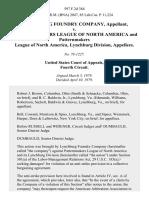 Lynchburg Foundry Company v. Patternmakers League of North America and Patternmakers League of North America, Lynchburg Division, 597 F.2d 384, 4th Cir. (1979)