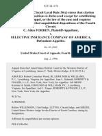 C. Allen Forren v. Selective Insurance Company of America, 92 F.3d 1178, 4th Cir. (1996)