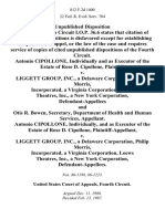 Antonio Cipollone, Individually and as of the Estate of Rose D. Cipollone v. Liggett Group, Inc., a Delaware Corporation, Philip Morris, Incorporated, a Virginia Corporation, Loews Theatres, Inc., a New York Corporation, and Otis R. Bowen, Secretary, Department of Health and Human Services, Antonio Cipollone, Individually, and as of the Estate of Rose D. Cipollone v. Liggett Group, Inc., a Delaware Corporation, Philip Morris, Incorporated, a Virginia Corporation, Loews Theatres, Inc., a New York Corporation, 812 F.2d 1400, 4th Cir. (1987)