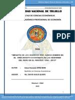Impacto de Los Ingresos Por Canon Minero en El Crecimiento Económico de Las Regiones Del Perú en El Período 1996-2013