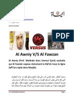 Al Awni vs Al Fawzan Celui Qui Dire Trace La Ligne Saff c'Est Enn Bid'Ah