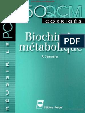 MÉTABOLIQUE QCM CORRIGÉS BIOCHIMIE TÉLÉCHARGER 150
